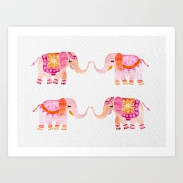 HAPPY ELEPHANTS - WATERCOLOR Art Print