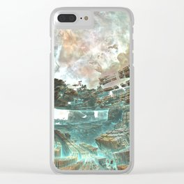 Aqua Space Shipyard Clear iPhone Case