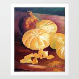 Composition with pumpkins Art Print