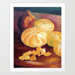 Composition with pumpkins Art Print