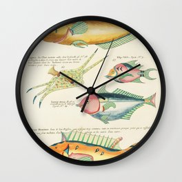 Colourful and surreal s of fishes found in Moluccas (Indonesia) and the East Indies by Louis Renard Wall Clock