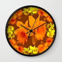 YELLOW SPRING DAFFODILS & COFFEE BROWN COLOR ART Wall Clock