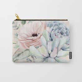 Elegant Blush Pink Succulent Garden by Nature Magick Carry-All Pouch