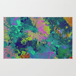 Messy Art I - Abstract, paint splatter painting, random, chaotic and messy artwork Rug