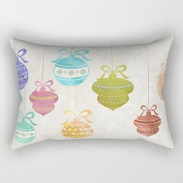Colorful Watercolor Christmas Ornaments Rectangular Pillow