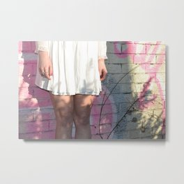 Graffiti Dress - Pink City Brick Vintage Style Fashion Girl Metal Print