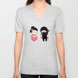 Tiny Ninja and Geisha Unisex V-Neck