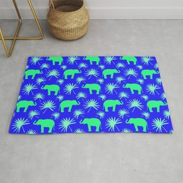 Wild African bright green little elephants, exotic tropical leaves whimsical cute blue pattern Rug