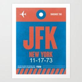JFK New York Luggage Tag 1 Art Print