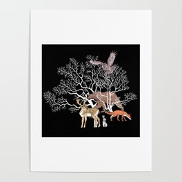 Print with forest animals and tree. Poster