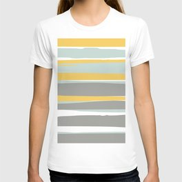 Stripe Abstract, Sun and Beach, Yellow, Pale, Aqua Blue and Gray T-shirt