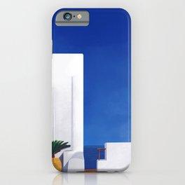Beyond the White Wall - Santorini, Greece - Minimal Travel Print - Romantic Coastal Vibes iPhone Case