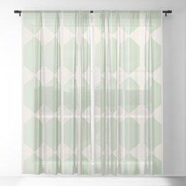 Hexagonal Pattern VI Soft Green Sheer Curtain