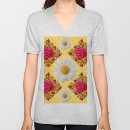 PINK ROSE & WHITE DAISIES YELLOW GARDEN ART Unisex V-Neck