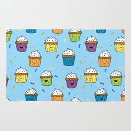 Cute Happy Fun Cupcakes with blue background Rug