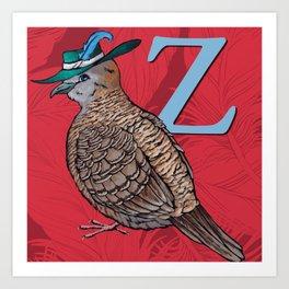 Alphabetical Birds: Z Art Print