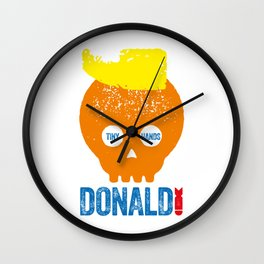 DONALD TRUMP, TYPOGRAPHIC ILLUSTRATION Wall Clock