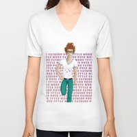 model V-neck T-shirts featuring Model by Francisco Javier