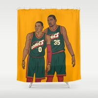 nba Shower Curtains featuring Westbrook and Durant - Retro Jersey by Michael Walchalk
