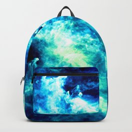 stormy nebula clouds turquoise blue Backpack
