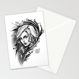 Girl neotrad tattoo Stationery Cards