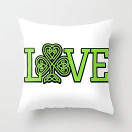 Love Irish Shamrock Celtic Knot Gifts Throw Pillow