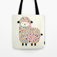 sheep Tote Bags featuring Bubble Sheep by Andy Westface