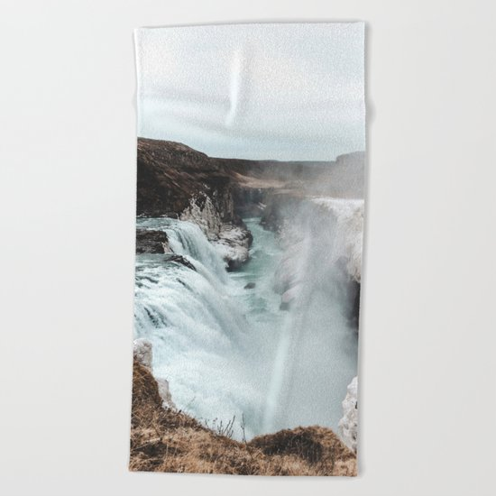 Gullfoss - Landscape Photography Beach Towel