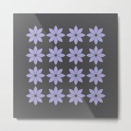 Minimalist Flowers Pattern (Charcoal Black, Lavender) Metal Print