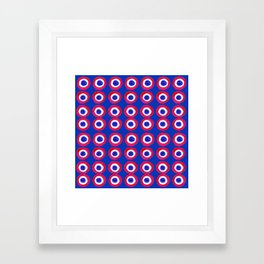 Donut Evil Eye Amulet Talisman - red on blue doughnut Framed Art Print