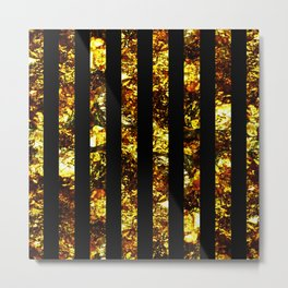 Golden Stripes - Abstract, black and gold, metallic, textured, stripy pattern Metal Print