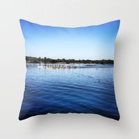 animal crew Throw Pillows featuring Crew  by Lindsay Jackson-Moses