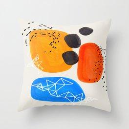 Fun Mid Century Modern Abstract Minimalist Yellow Orange Blue Watercolor Bubbles Throw Pillow