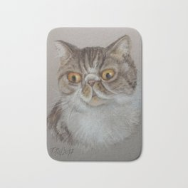 Exotic Cat Portrait Tabby Cat Pastel drawing Sketch on grey background Decor for Cat Lover Bath Mat