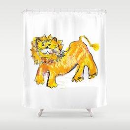 Lion illustration for kids Shower Curtain