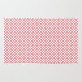 Flamingo Pink and White Polka Dots Rug