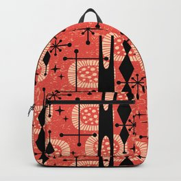 Retro Atomic Mid Century Pattern 771 Red Backpack