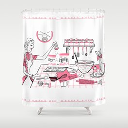 Baking Day Fun With Mister Kitty Shower Curtain