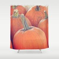 jasmine Shower Curtains featuring Jasmine Pumpkins by Farmhouse Chic