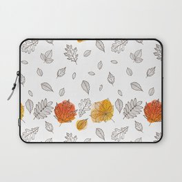 Fall orange gold hand drawn black white leaves Laptop Sleeve