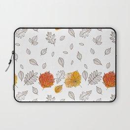 Fall orange gold hand drawn black white leaves Laptop Sleeve