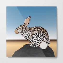 Rabbit Guepard Pattern Metal Print
