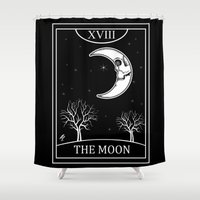 tarot Shower Curtains featuring The Moon Tarot Card by Natasha Sines