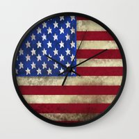american flag Wall Clocks featuring American Flag by Jason Michael