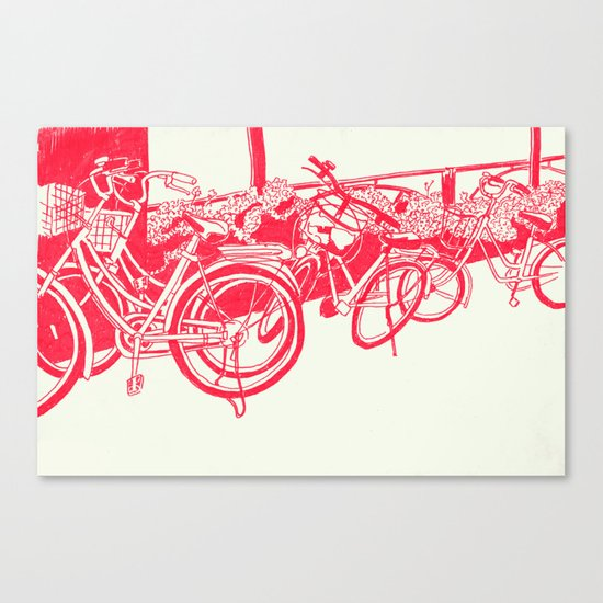 On Paper: Tokyo Bicycles Canvas Print