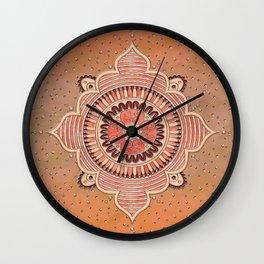 Mandala ornament orange Wall Clock