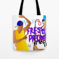 fresh prince Tote Bags featuring Fresh Prince by Hannah  Aryee