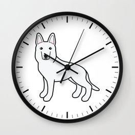 White Shepherd / White German Shepherd Dog Cartoon Illustration Wall Clock