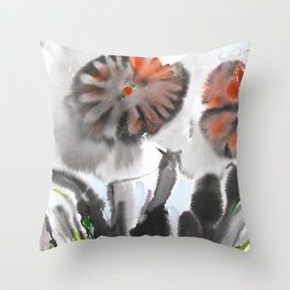 Sumie No.4 Daffodils Throw Pillow