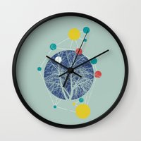 planets Wall Clocks featuring Planets by Tamsin Lucie